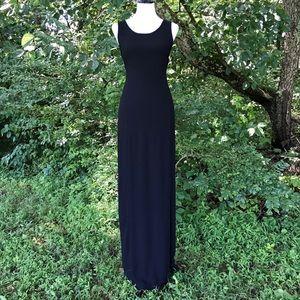 Eileen Fisher Black Maxi Textured Side Slit Dress